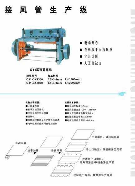 共板式无法兰连接风管生产线(一),陕西省建运工程机械有限责任公司
